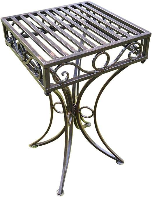 Mesa auxiliar de jardín o soporte para plantas de metal estilo Versalles con un acabado bronce antiguo de Olive Grove: Amazon.es: Jardín