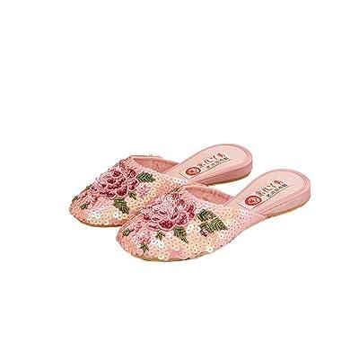 Artisanat Chaussures Paillettes Espadrille Femme Mocassin Chaussons Ethniques#101