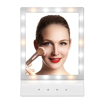 Kosmetikspiegel Schminkspiegel Mit LED Beleuchtung Makeup Spiegel, Myguru  Standspiegel Tischspiegel 3 Helligkeit Dimmbar,180
