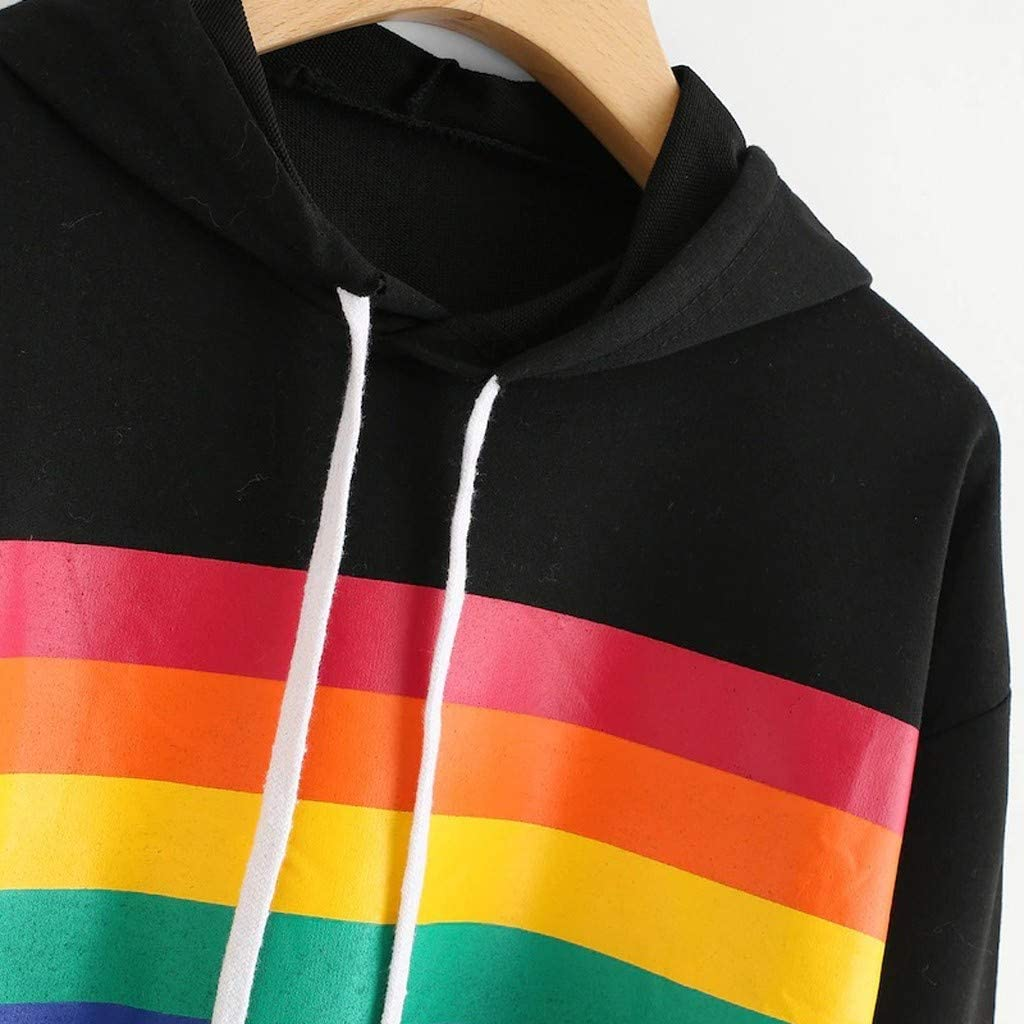 Rainbow Colored Striped Print Hooded Sweatshirt Pullover Long Sleeve Outfit Samojoy Cropped Hoodie for Women Teen Girls