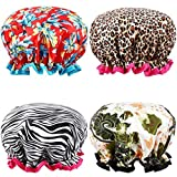 Shower Cap, ESARORA 4 PACK Bath Cap Designed for Women Waterproof Double Layer