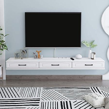 Consola de TV flotante Banco de TV con tres espacios independientes Muebles modernos 2 cajones Estante de almacenamiento minimalista Router y Armario de caja de cable: Amazon.es: Hogar