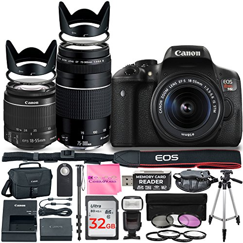 Canon EOS Rebel T6i DSLR Camera with Canon 18-55mm IS II Lens Bundle + Canon EF 75-300mm f/4-5.6 III Lens + 32GB Memory + Filters + Monopod + Spider Tripod + Camera Works Professional Bundle Review