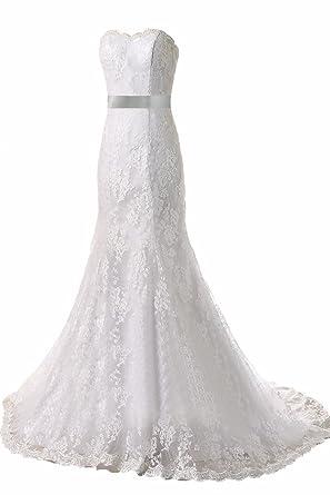 4c9d1835392 DingXuBao Woman s Mermaid Lace Bridal Gown Elegant Noble Beach Wedding  Dresses at Amazon Women s Clothing store