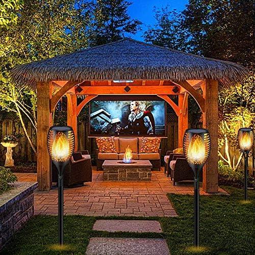 Luces Antorchas Solares, Luces Solar Jardín Exterior Antorcha con Llamas 96 LED Impermeable IP65, Al Aire Libre Paisaje Decoración Iluminación, ON/OFF Automático para Patio Jardín Camino (2 piezas): Amazon.es: Iluminación