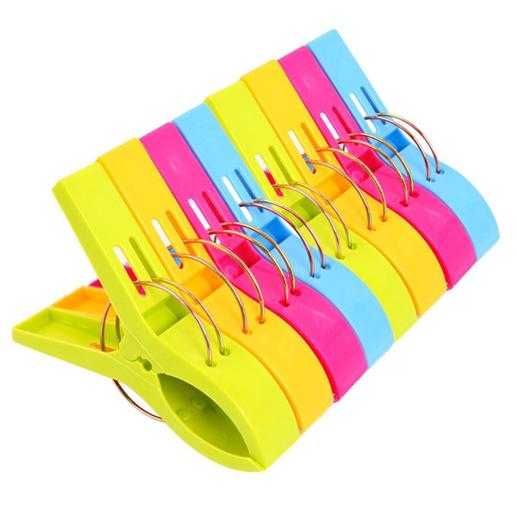 Danmu Colorful Beach Towel Clips, Beach Clips, Towel Clips for Beach Chair, Blankets, Pool Loungers, Cruise (8 Pack) - Keep Your Towel from Blowing Away - Assorted Color