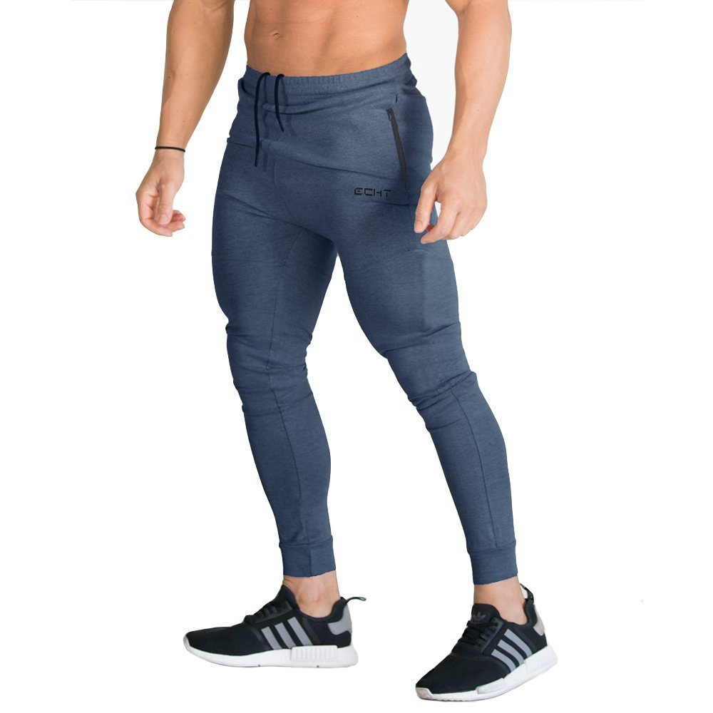 ECHT Tapered Joggers Navy V2 Men Pants Gym Wear Sweat Trousers Slim Fit Bottoms