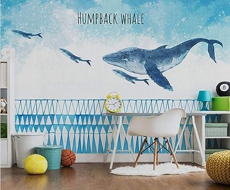 Camera Da Letto Blu Balena : Hongyaunzhang bellissima balena blu personalizzato foto wallpaper