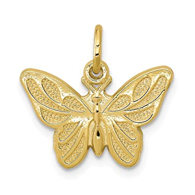 b2d642d6226d5 Amazon.com: 10k Yellow Gold Butterfly Pendant Charm Necklace Animal ...