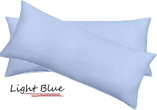 Egyptian Cotton Light Blue Bed Pillowcases with 600 Tc Set of 2 Pillow Cover