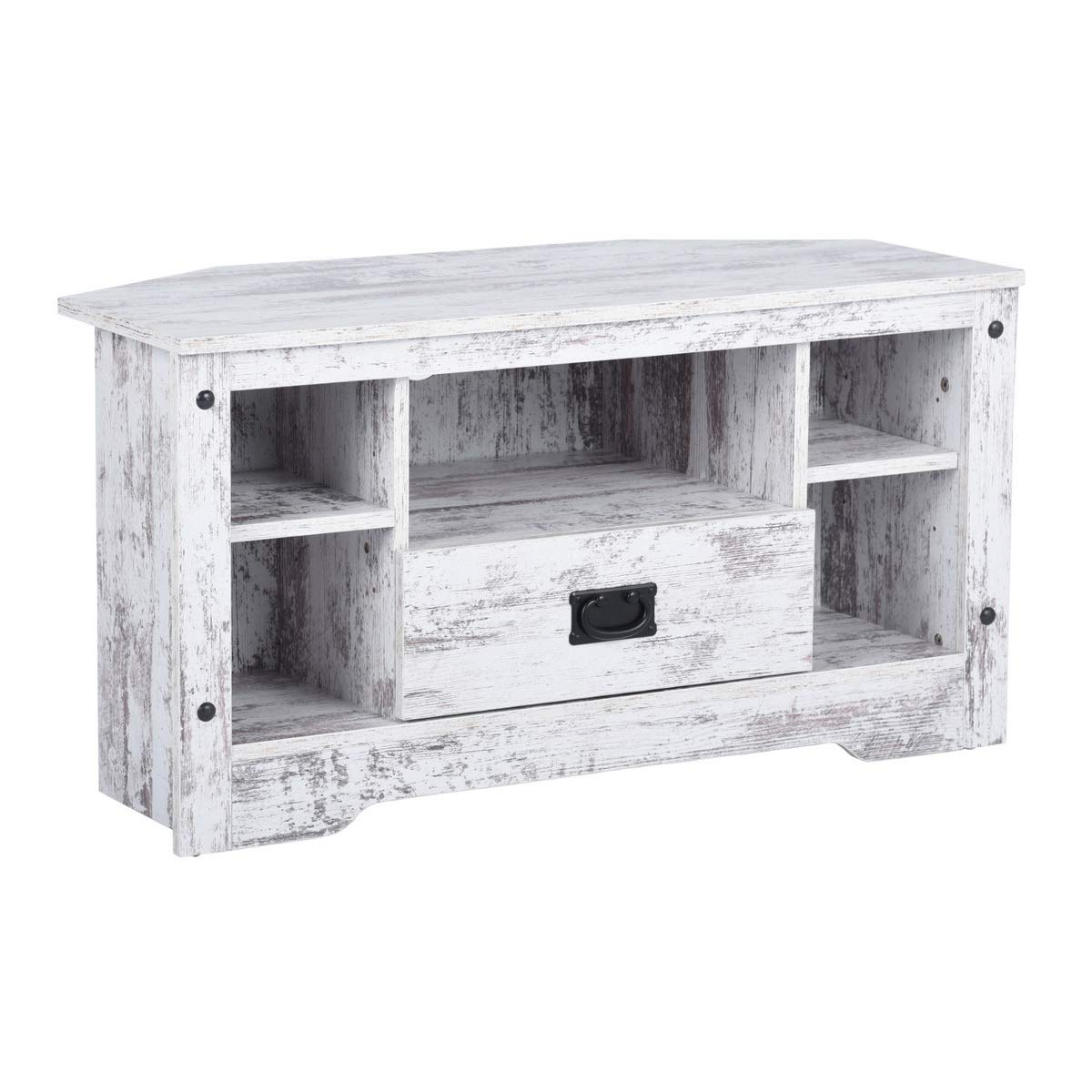 GreenForest TV Stand, 35.4 Vintage TV Console Entertainment Center Cabinet with Drawer for Small Spaces, White