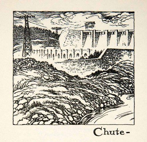 1947 Lithograph Chute A Caron Quebec Canada Shipshaw Hydroelectric Plant Dam Art - Original In-Text - Canada Oakley