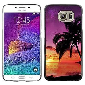 X-ray Impreso colorido protector duro espalda Funda piel de Shell para Samsung Galaxy S6 / SM-G920 / SM-G920A / SM-G920T / SM-G920F / SM-G920I - Beach Sunset Purple Sky Nature Summer