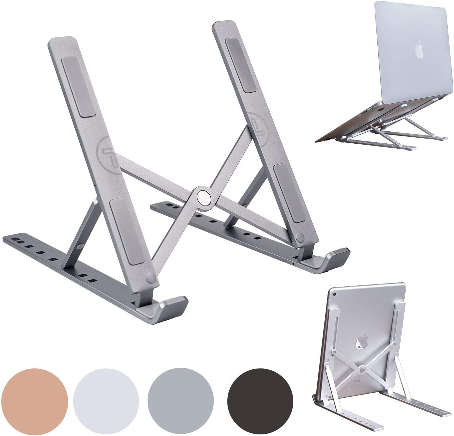 Portable Laptop Stand Foldable Aluminum Adjustable Laptop Stand for Desk with 7 Angle Adjustable Stand for MacBook Air, MacBook Pro, iPad and Tablet, Laptop. (Gray)