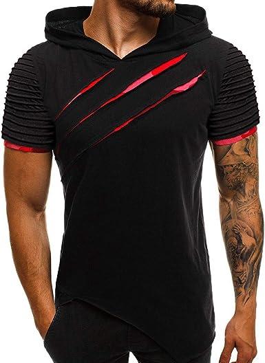 Amazon Com Letdown Men Tops Hooded Shirts For Men Short Sleeve Scratch Zipper Pattern Casual Slim Fit T Shirts Mens Fashion Summer Shirt Clothing