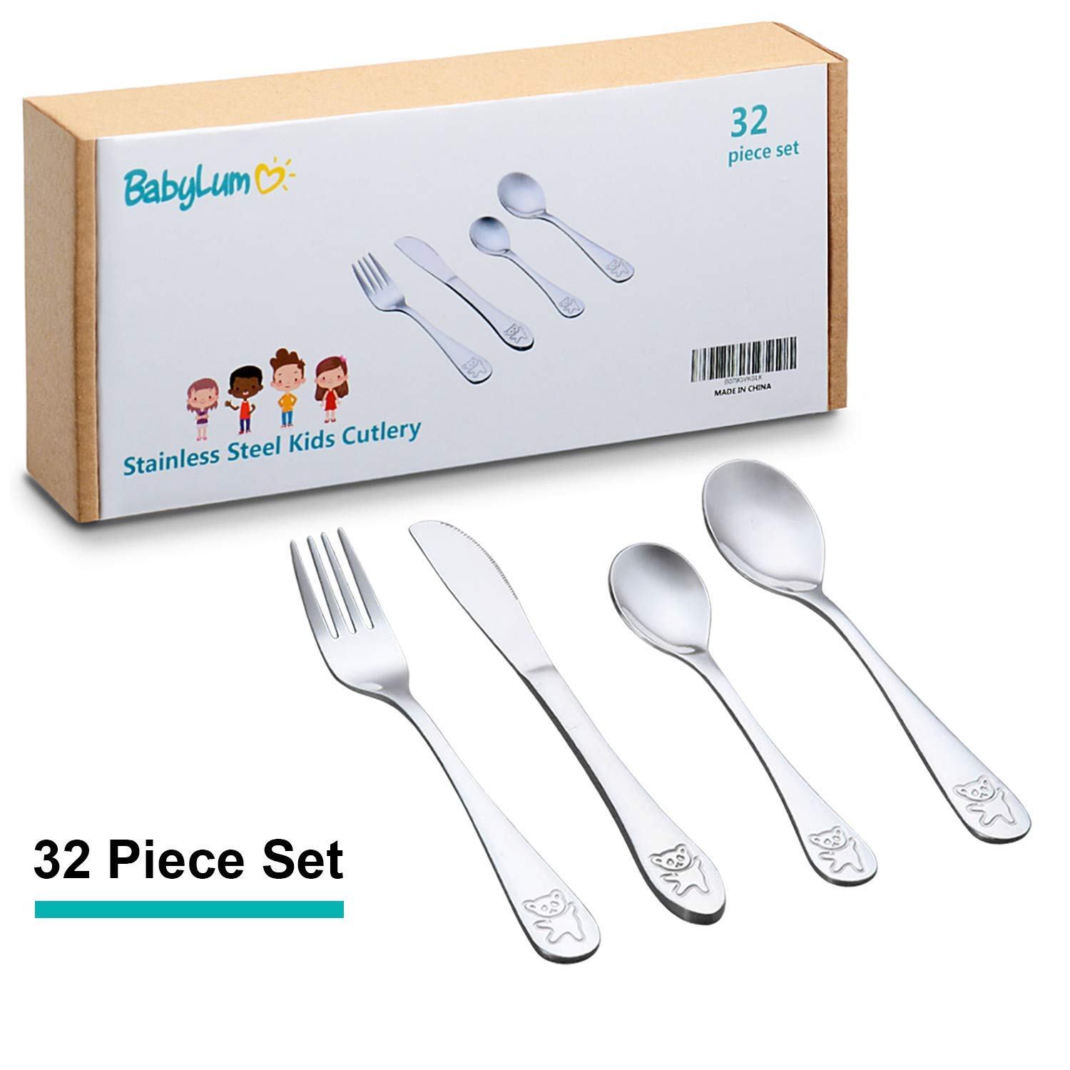 32 Piece Utensils Set for Kids, Stainless Steel Cutlery Flatware, Safe Silverware for Toddler and Child, Total 8 Place Settings with 8 Knives, 8 Forks, 8 Spoons, 8 Dessert Spoons. (Set of 32) BabyLum