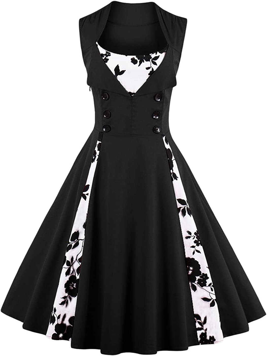 TALLA L. VERNASSA 50s Vestidos Vintage,Mujeres 1950s Vintage A-Line Rockabilly Clásico Verano Dress for Evening Party Cocktail, Multicolor, S-Plus Size 4XL 1357f-negro