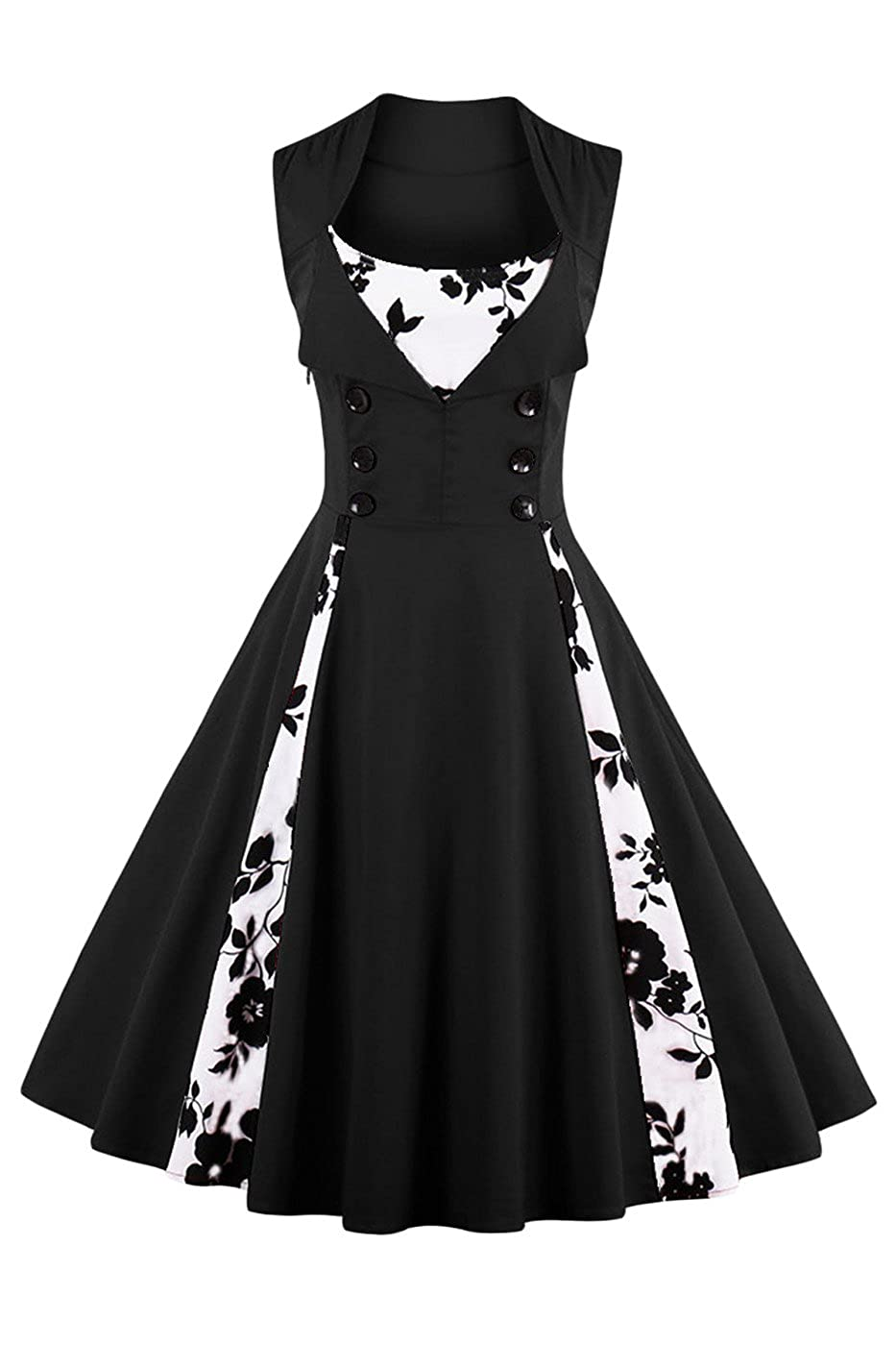 TALLA M. VERNASSA 50s Vestidos Vintage,Mujeres 1950s Vintage A-Line Rockabilly Clásico Verano Dress for Evening Party Cocktail, S-Plus Size 4XL 1357f-negro
