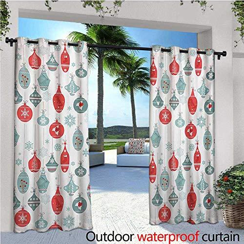 homehot Christmas Fashions Drape Vintage Textured Xmas Elements Joyful Gleams Christmastide Artsy Holly Pattern Outdoor Curtain Waterproof Rustproof Grommet Drape W72 x L108 Blue Red