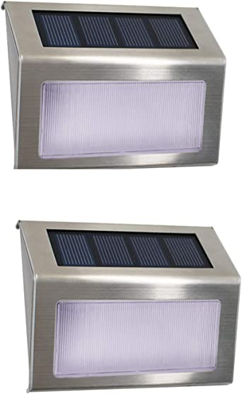 Luces Solares para Exterior Jardín 4 LED Easternstar, Lámparas Solares impermeable IP44 Exterior, Solar Panel del acero inoxidable, 4 LEDs Ilumina a las escaleras, pared,patio y jardín etc 12 unidades: Amazon.es: Iluminación