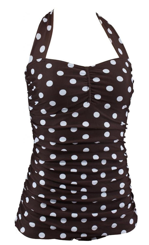 Aloha-Beachwear Rockabilly Vintage Style Neckholder Damen Badeanzug mit Polka Dots Punkte A3035