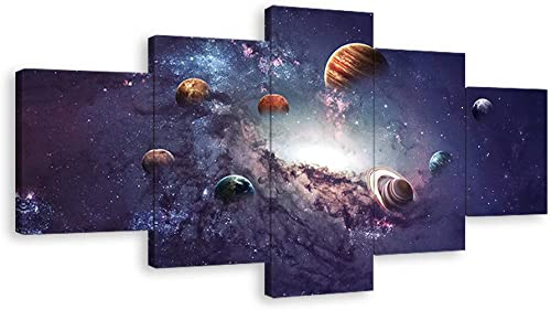 KALAWA Galaxy Canvas Wall Art Painting Abstract Glowing Light On Planet Earth Modern Still Life 5 Pieces Modern Home Decor