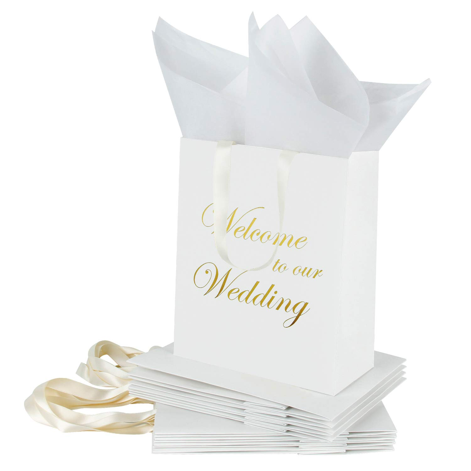 Loveinside Medium Kraft Gift Bags-Welcome to Our Wedding Gold Foil White Paper Gift Bag with Tissue Paper - Wedding,Party Favor,Bridesmaids Gift-12Pack -8'' X 4'' X 10''