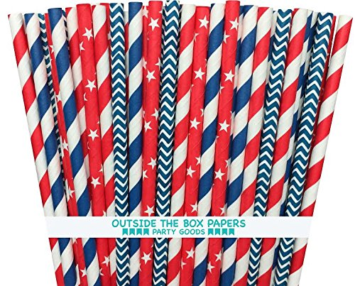 Outside the Box Papers Baseball Theme Stars and Striped Paper Straws 7.75 Inches 100 Pack Red, White, Blue]()