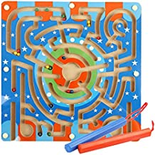 Fiaya Wooden Maze Puzzle Annular Labyrinth with Magnetic Beads Toys