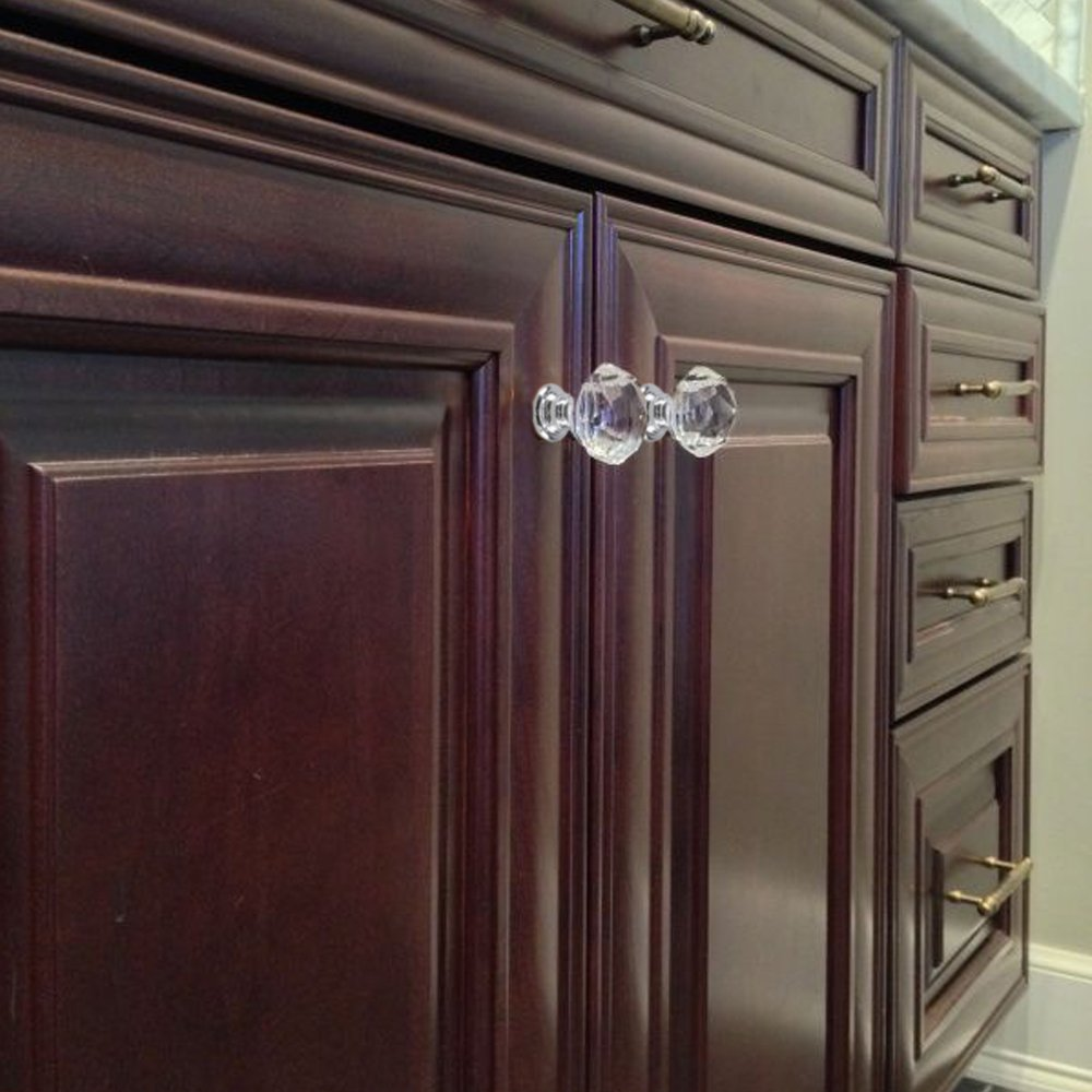Diamond Shape Furniture Handles w//Screw by INNKER 10PCS Crystal Drawer Pulls Glass Clear Door Knobs for Kitchen Cabinets Wardrobe Cupboard Closet Hutch Chest Desk