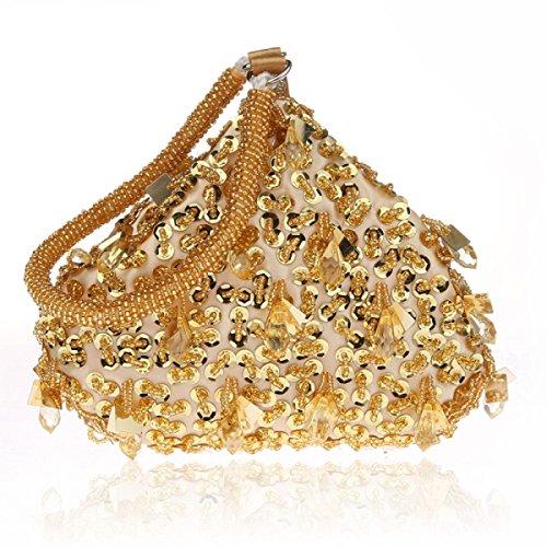 GSHGA Vestido De Noche Nuevo Mini Fashion Cheongsam Vestido De Novia Bolso De Embrague Bolsa De Niñas Monedero para Fiestas Clubes De Bodas,Gold Gold