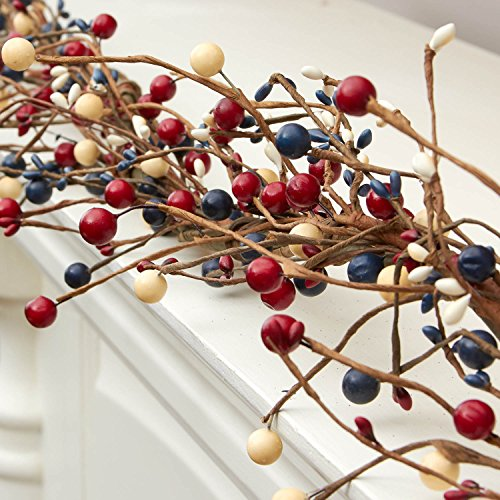 Americana Mixed Berry and Pip Berry Red White & Blue 4ft (Red White And Blue Garland)