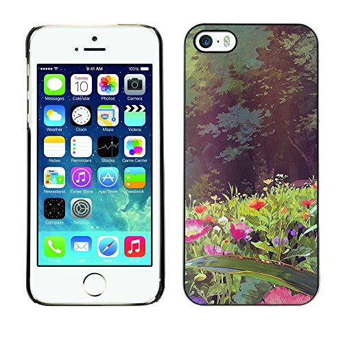 TopCaseStore / caoutchouc Hard Case Housse de protection la Peau - Flowers Forest Sun Summer - Apple iPhone 5 / 5S