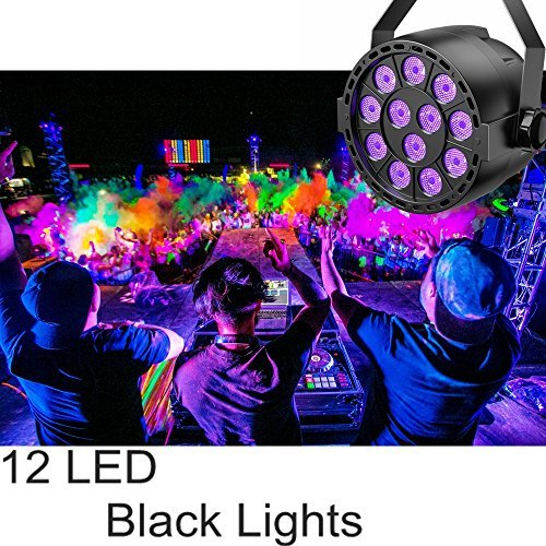UV LED Black Light, TECKEPIC 12LED DMX Blacklight Violet Par Lights Stage Lighting for Glow in the Dark Party Kids Parties Dance Floor Posters Body Paint Neon Sign Pub Club Disco Concert