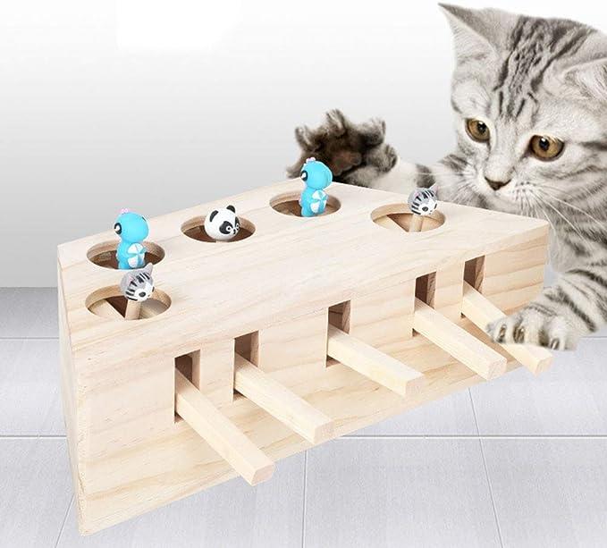 Ysoom Jouet interactif pour Chat en Bois Jouet Souris Souris Souris Souris Puzzle avec Adorable Dessin animé pour Chats, Chasse, Jeux, entraînement,