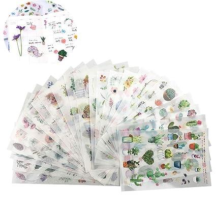 Amazon.com: Pegatinas para plantas, 24 hojas (520 piezas ...