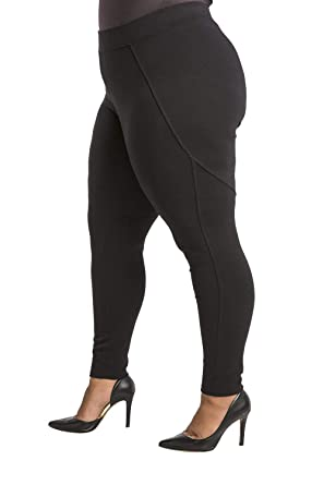f0be866f687 Poetic Justice Plus Size Curvy Women s Stretch Ponte Pull On Moto Legging  Size 1X Black