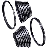 Filter Ring Adapter, K&F Concept 18pcs Camera Lens Filter Metal Stepping Rings kit (Includes 9pcs Step Up Ring Set + 9pcs Ste