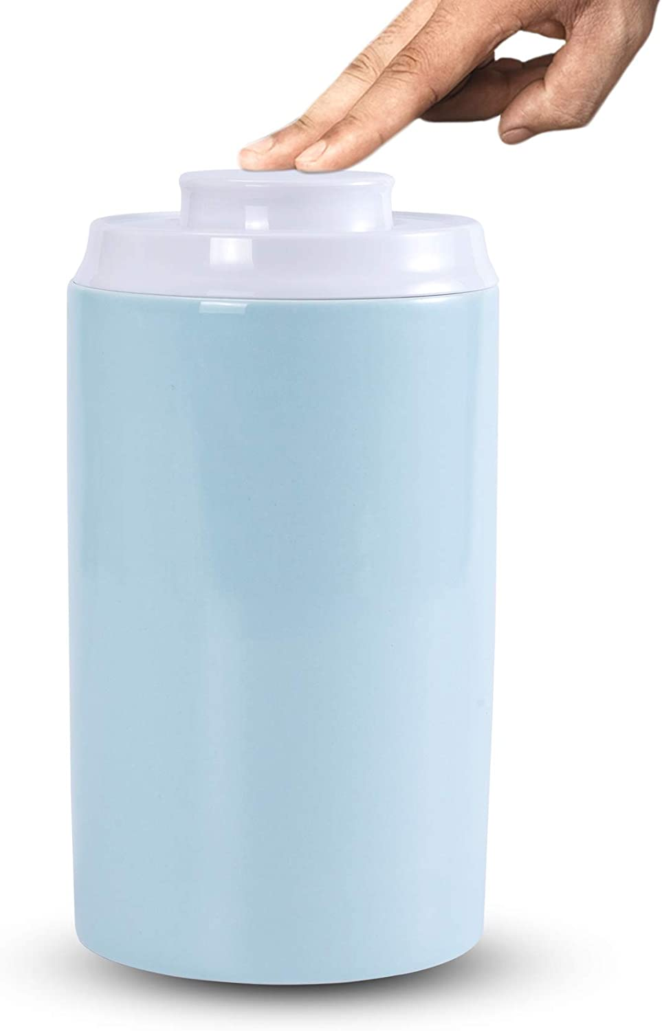 SIDUCAL Food Storage Containers, Kitchen Storage Canister Ceramic Jar with Pop Airtight Lid, 39 Oz Portable Crock For Tea Sugar Coffee Spices 7.3inch x 4.4inch -Light Blue