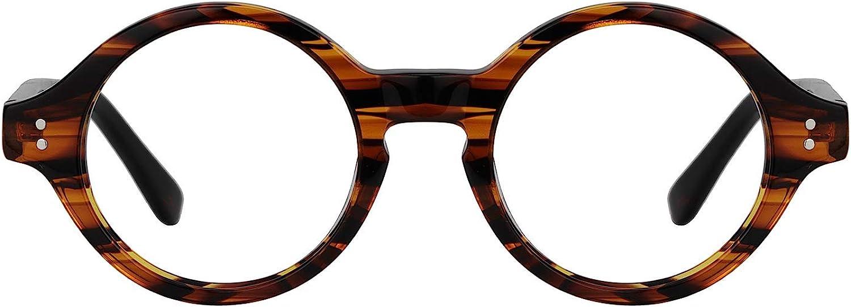 Zeelool Unisex Retro Acetate Round Eyeglasses Frame with Clear Lens Giggs FA0249-01