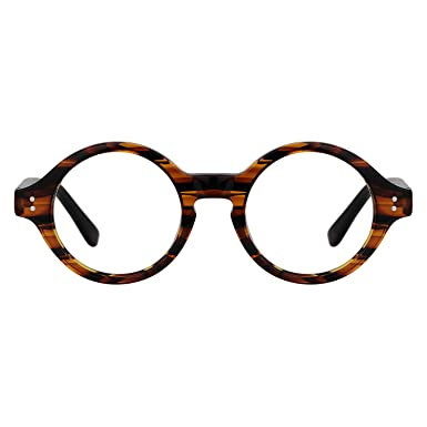 aaf02a6a751 Image Unavailable. Image not available for. Color  Zeelool Unisex Small  Retro Acetate Round Eyeglasses Frame Giggs FA0249-01