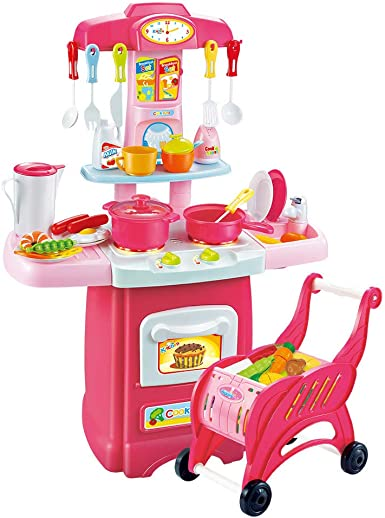 Gmgod Play House Toy Set Children S Toys Electronic Kitchen Set And Shopping Cart Clothing