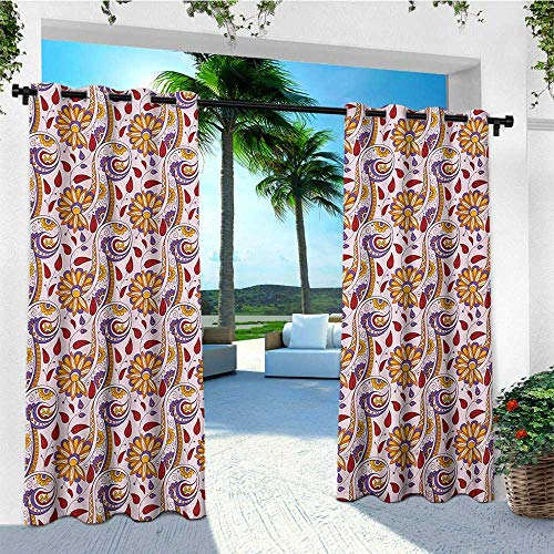 leinuoyi Ethnic, Outdoor Curtain Pair, Persian Paisley Motifs and Leaves with Traditional Eastern Asian Culture Motifs, Outdoor Curtain Set for Patio Waterproof W84 x L108 Inch Multicolor