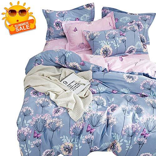 BuLuTu 3 Pieces Girls Duvet Cover Set Twin Kids Blue/Purple/Pink Cotton,Dandelion Butterfly Print Reversible Bedding Sets Twin Comforter Cover 2 Pillow Shams,Super Soft,No Comforter