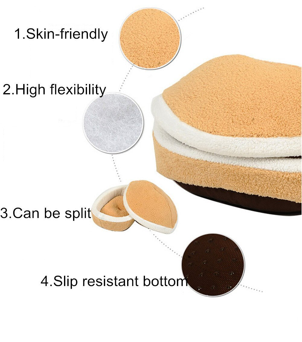 Amazon Modovo Washable Shell Shaped Burger Bun Pet Bed Cat Dog Sleeping Bag For 12 Pounds 55KG M Size Supplies