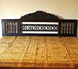 Indian Mirror and Patchwork Cotton Bedspreads (Gold)