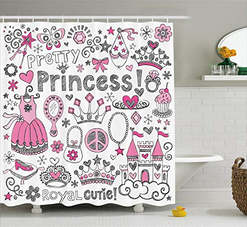 Ambesonne Teen Girls Decor Shower Curtain Set, Fairy Tale Princess Tiara Crown Notebook Doodle Design Sketch Illustration, Bathroom Accessories, 69W X 70L Inches, Pink White