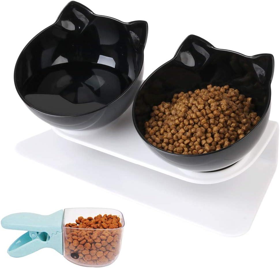 Joyibay Cuenco del Gato, Tazón para Mascotas Cuenco Comedero Doble Transparente para Mascotas Antideslizante del Animal doméstico del tazón de Fuente de la Comida para Perros del Tazón