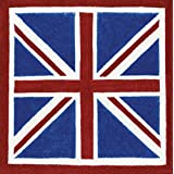 Caspari Entertaining with Cocktail Napkin, Union Jack Blue, Box of 40