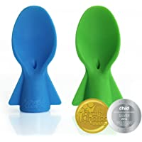 Cherub Baby Universal Food Pouch Spoons Duo Pack, Green, Blue